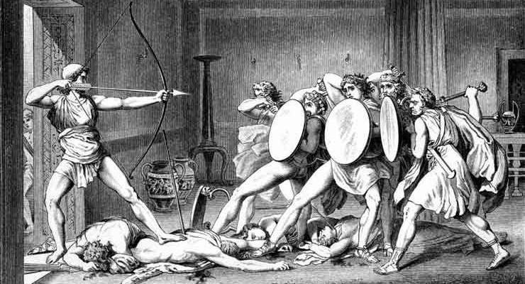 Odisseia - Ulisses atacando pretendentes