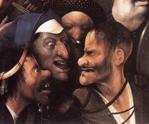 Hieronymus BOSCH (c.1450-1516) - Cristo Carregando a Cruz, (detalhe do mau ladrão), s/d (após 1500) - Óleo sobre madeira, 74 x 81 cm - Museu de Belas Artes de Ghent, Bélgica